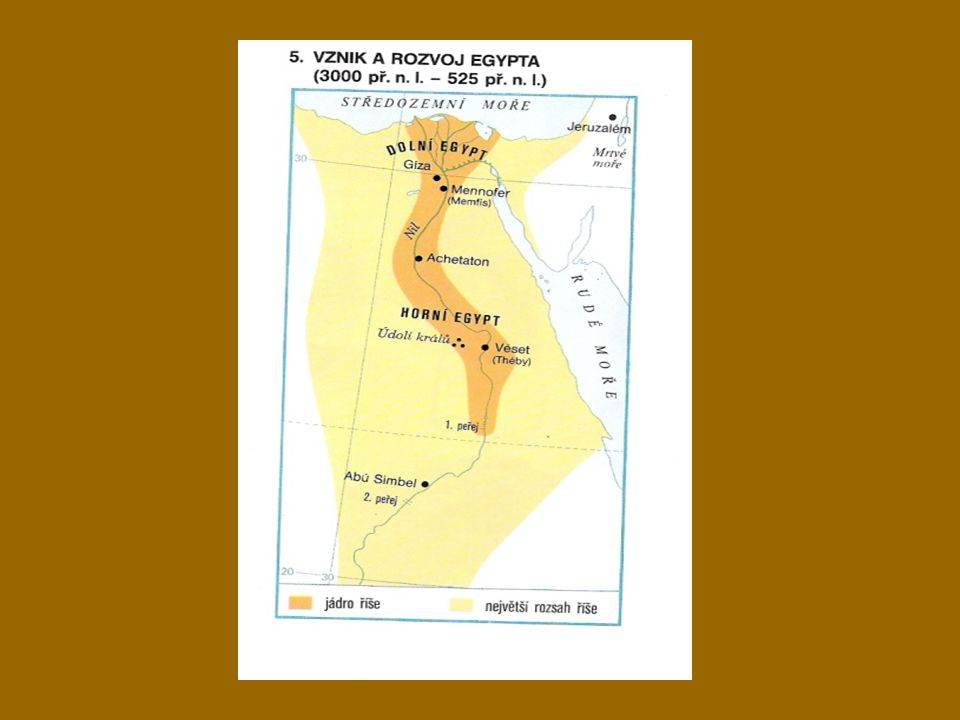 tok NILU DOLNÍ EGYPT ústí Nilu do moře řadu ramen – řek - BAŽIN hnízda ptáků bohatství ryb hospodářsky závislý na Horním Egyptě HORNÍ EGYPT střední tok Nilu úrodná pole nánosem bahna měď, zlato, kámen rychlejší rozvoj podmanil si pomaleji se rozvíjející Dolní Egypt JEDNOTNÝ STÁT