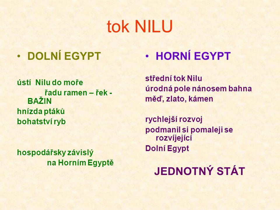 tok NILU DOLNÍ EGYPT ústí Nilu do moře řadu ramen – řek - BAŽIN hnízda ptáků bohatství ryb hospodářsky závislý na Horním Egyptě HORNÍ EGYPT střední to