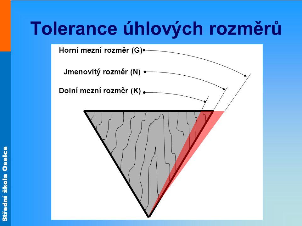 Střední škola Oselce Tolerance úhlových rozměrů Dolní mezní rozměr (K) Horní mezní rozměr (G) Jmenovitý rozměr (N)