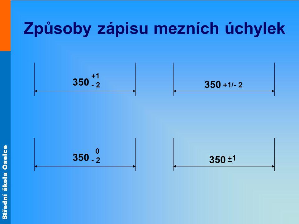 Střední škola Oselce Způsoby zápisu mezních úchylek 350 +1 - 2 350 0 - 2 350 +1/- 2 350 +1+1