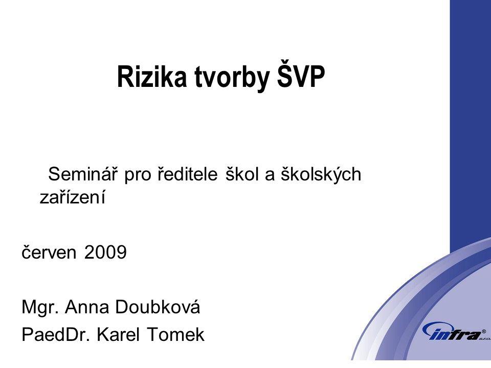 Rizika tvorby ŠVP Seminář pro ředitele škol a školských zařízení červen 2009 Mgr.
