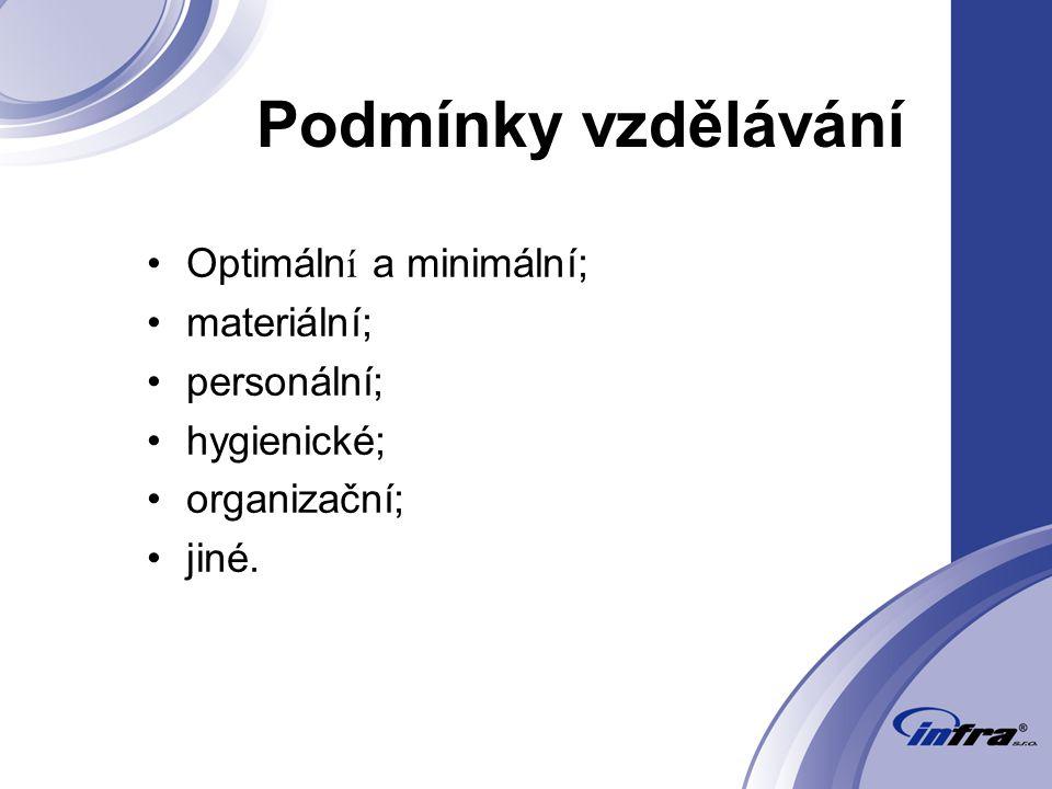 Podmínky vzdělávání Optimáln í a minimální; materiální; personální; hygienické; organizační; jiné.