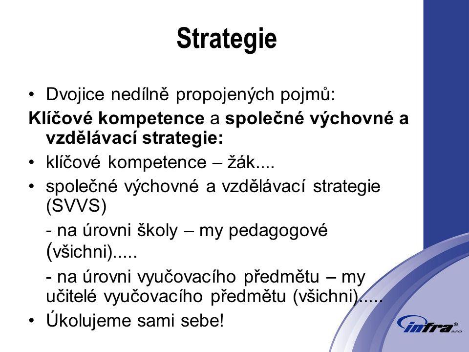 Strategie Dvojice nedílně propojených pojmů: Klíčové kompetence a společné výchovné a vzdělávací strategie: klíčové kompetence – žák....