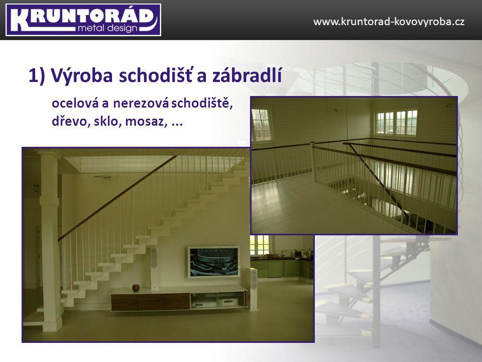ocelová a nerezová schodiště, dřevo, sklo, mosaz,...