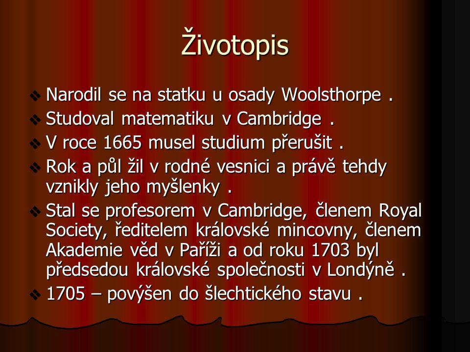 Životopis  Narodil se na statku u osady Woolsthorpe.