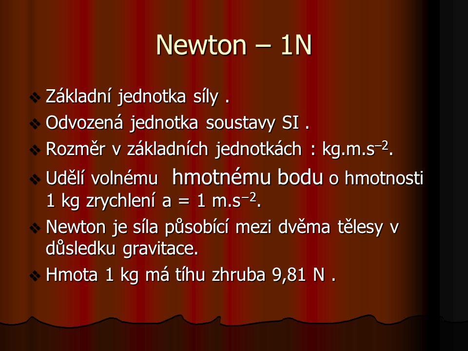 Newton – 1N  Základní jednotka síly. Odvozená jednotka soustavy SI.