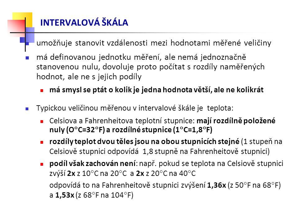 INTERVALOVÁ ŠKÁLA umožňuje stanovit vzdálenosti mezi hodnotami měřené veličiny má definovanou jednotku měření, ale nemá jednoznačně stanovenou nulu, dovoluje proto počítat s rozdíly naměřených hodnot, ale ne s jejich podíly má smysl se ptát o kolik je jedna hodnota větší, ale ne kolikrát Typickou veličinou měřenou v intervalové škále je teplota: Celsiova a Fahrenheitova teplotní stupnice: mají rozdílně položené nuly (O  C=32  F) a rozdílné stupnice (1  C=1,8  F) rozdíly teplot dvou těles jsou na obou stupnicích stejné (1 stupeň na Celsiově stupnici odpovídá 1,8 stupně na Fahrenheitově stupnici) podíl však zachován není: např.
