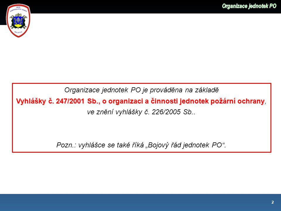 Organizace jednotek PO je prováděna na základě Vyhlášky č.