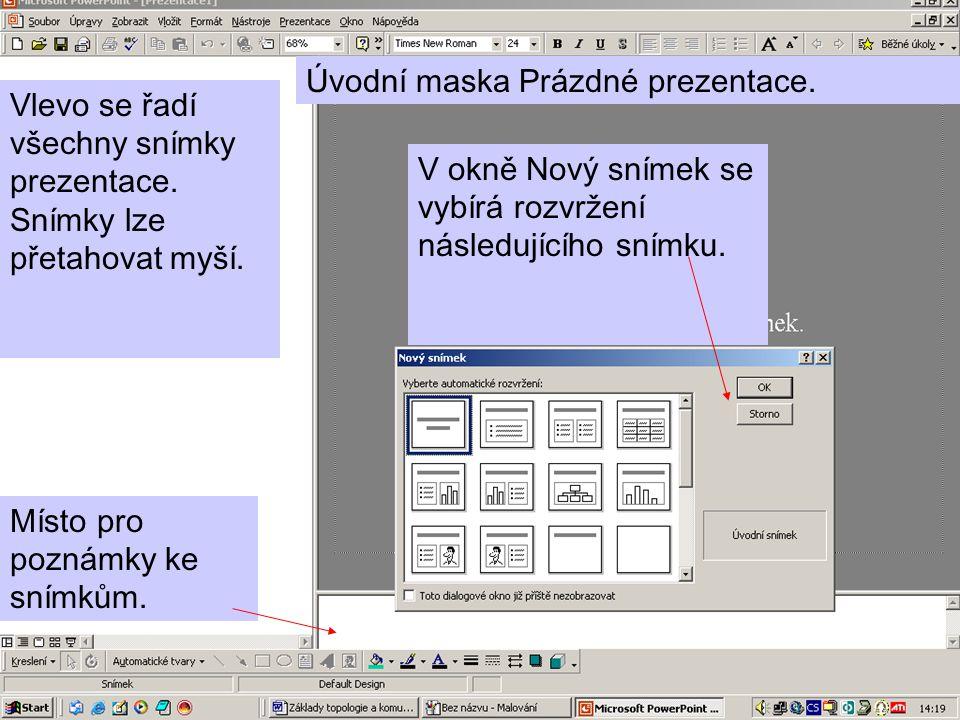 7 Vlevo se řadí všechny snímky prezentace.Snímky lze přetahovat myší.