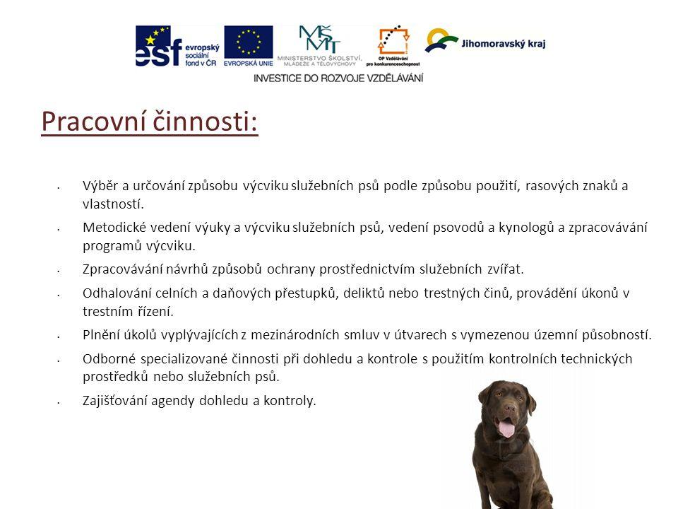 Pracovní činnosti: Výběr a určování způsobu výcviku služebních psů podle způsobu použití, rasových znaků a vlastností. Metodické vedení výuky a výcvik