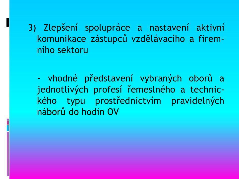 2) Metodické materiály - vytvoření jednotných metodických podkladů a materiálů: - katalog řemesel - metodika motivace k řemeslům ve volbě povolání žáků ZŠ - DVD – elektronická verze – katalog řemesel - výukové moduly a propagační nástroje pro vzdělávání – letáky, prezentace řemeslných a technických oborů a jejich využití při netradičním vyučování – projektové dny pro rodiče a žáky - webový portál: http://www.otevrisedovednostem.cz