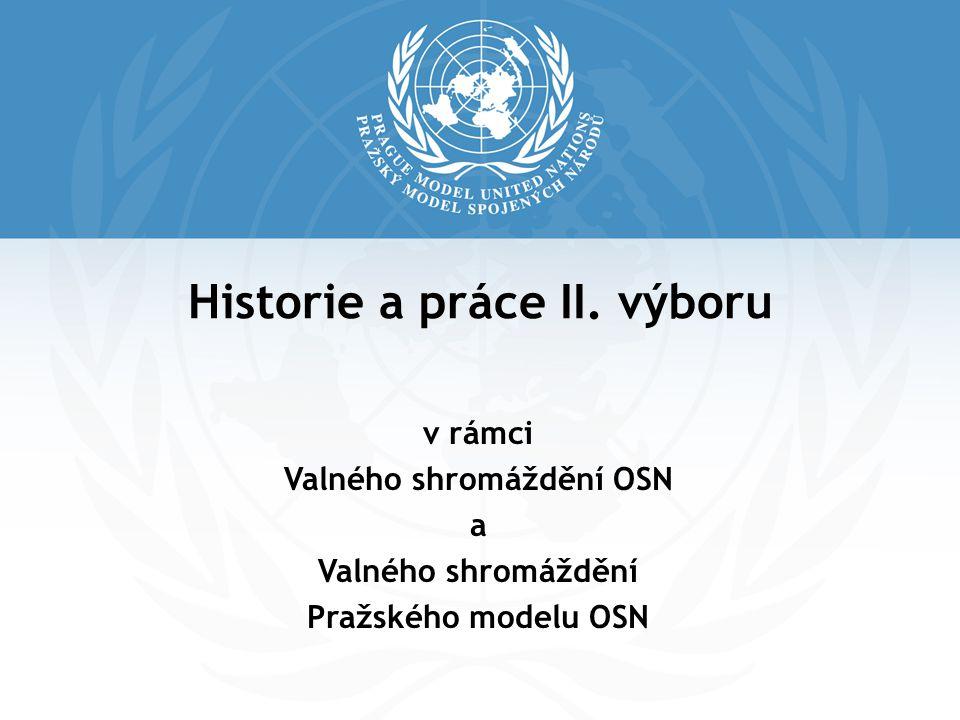 Historie a práce II. výboru v rámci Valného shromáždění OSN a Valného shromáždění Pražského modelu OSN