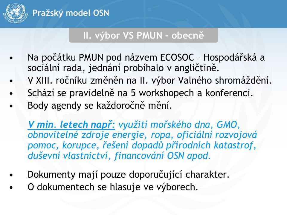 II. výbor VS PMUN - obecně Na počátku PMUN pod názvem ECOSOC – Hospodářská a sociální rada, jednání probíhalo v angličtině. V XIII. ročníku změněn na