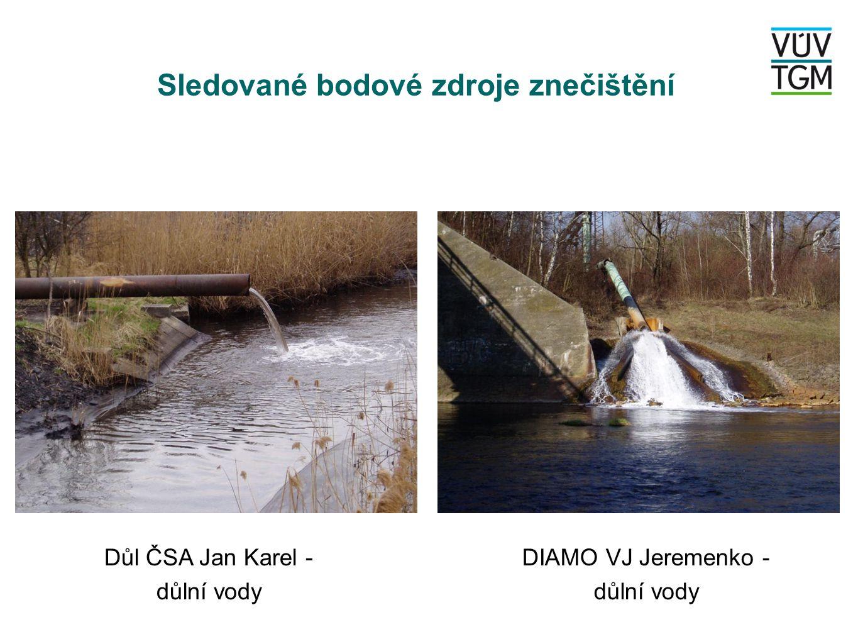 Sledované bodové zdroje znečištění DIAMO GEAM Zlaté hory - ČOV důlních vod ArcelorMittal Ostrava- ČOV Lučina