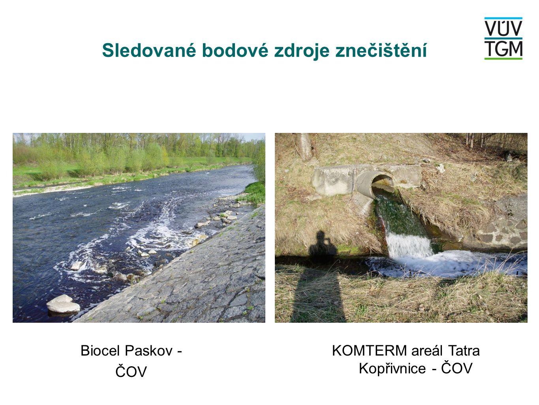 Sledované bodové zdroje znečištění Biocel Paskov - ČOV KOMTERM areál Tatra Kopřivnice - ČOV
