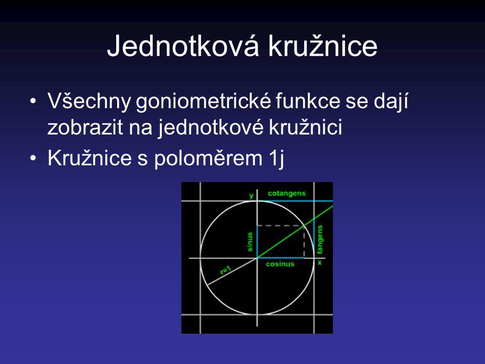Jednotková kružnice Všechny goniometrické funkce se dají zobrazit na jednotkové kružnici Kružnice s poloměrem 1j