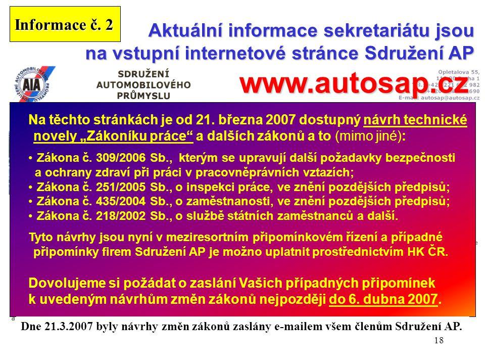 18 Aktuální informace sekretariátu jsou na vstupní internetové stránce Sdružení AP www.autosap.cz www.autosap.cz Další informace v příslušných rubriká