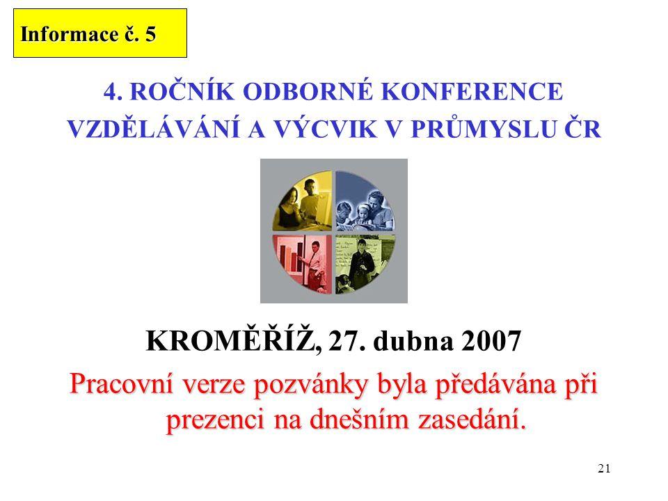 21 4. ROČNÍK ODBORNÉ KONFERENCE VZDĚLÁVÁNÍ A VÝCVIK V PRŮMYSLU ČR KROMĚŘÍŽ, 27. dubna 2007 Pracovní verze pozvánky byla předávána při prezenci na dneš
