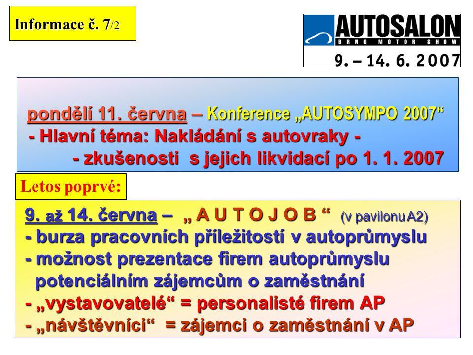 """24 Informace č. 7 /2 9. až 14. června –"""" A U T O J O B """" (v pavilonu A2) 9. až 14. června – """" A U T O J O B """" (v pavilonu A2) - burza pracovních příle"""