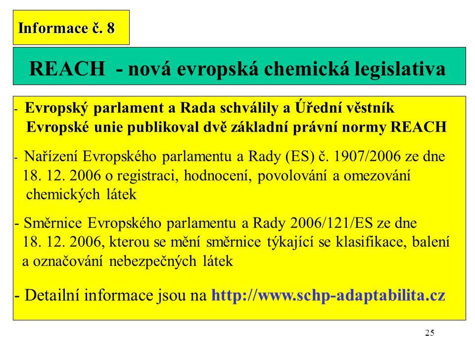 25 Informace č. 8 REACH - nová evropská chemická legislativa - Evropský parlament a Rada schválily a Úřední věstník Evropské unie publikoval dvě zákla