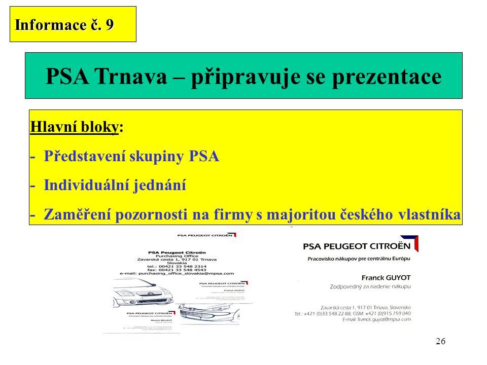 26 PSA Trnava – připravuje se prezentace Informace č. 9 Hlavní bloky: - Představení skupiny PSA - Individuální jednání - Zaměření pozornosti na firmy