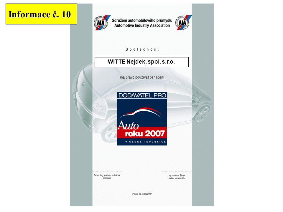 BARUM CONTINENTAL spol. s r.o. CONSTRUCT CZECH, a.s.DEFEND GROUP, a.s.HP Pelzer k.s.TRW – DAS a.s.WITTE Nejdek, spol. s.r.o. Informace č. 10