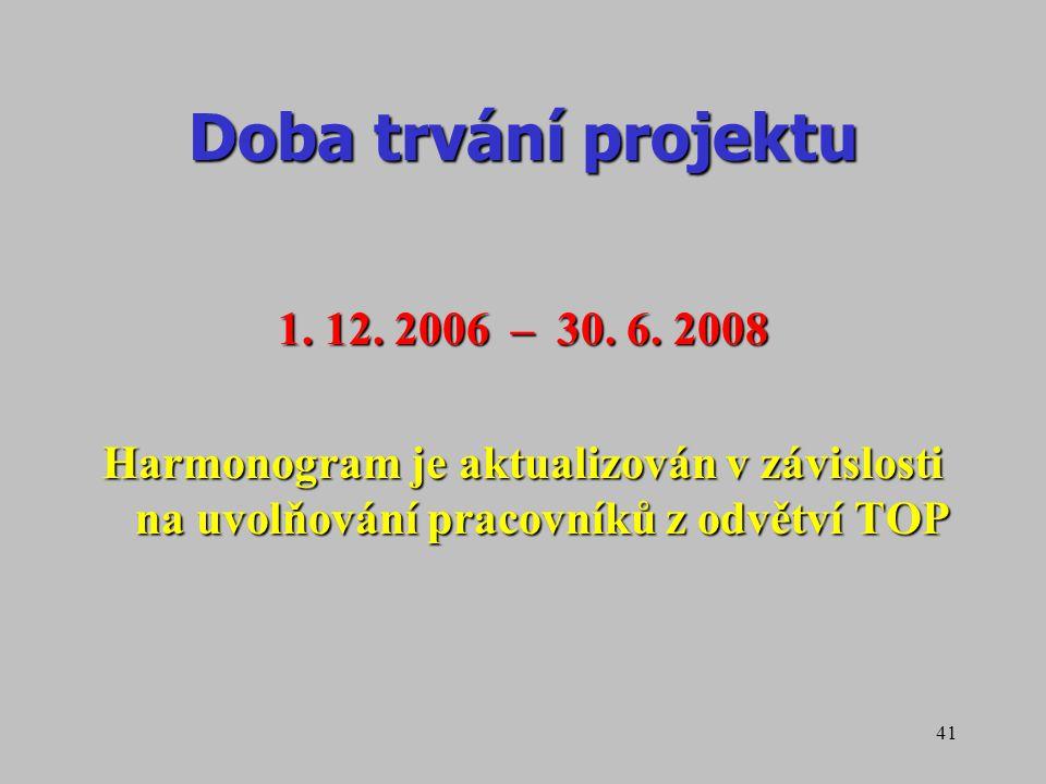 41 Doba trvání projektu 1. 12. 2006 – 30. 6. 2008 Harmonogram je aktualizován v závislosti na uvolňování pracovníků z odvětví TOP