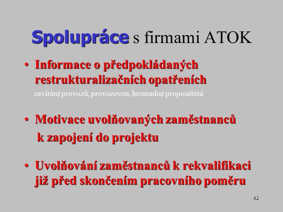 42 Spolupráce Spolupráce s firmami ATOK Informace o předpokládaných restrukturalizačních opatřeníchInformace o předpokládaných restrukturalizačních op