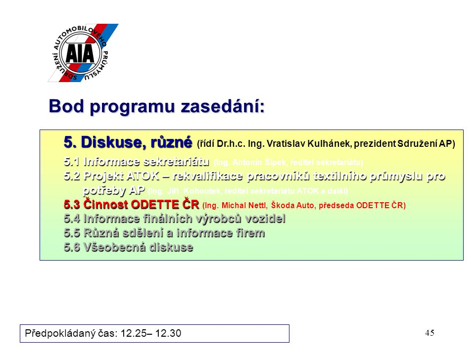 45 Bod programu zasedání: 5. Diskuse, různé 5. Diskuse, různé (řídí Dr.h.c. Ing. Vratislav Kulhánek, prezident Sdružení AP) 5.1 Informace sekretariátu