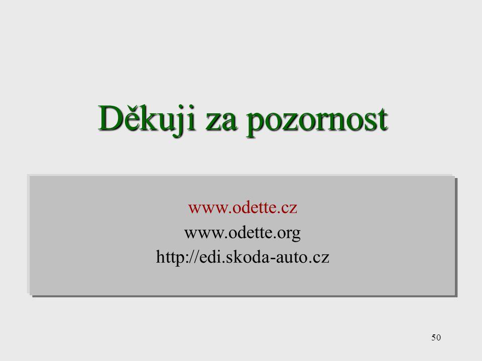 50 Děkuji za pozornost www.odette.cz www.odette.org http://edi.skoda-auto.cz