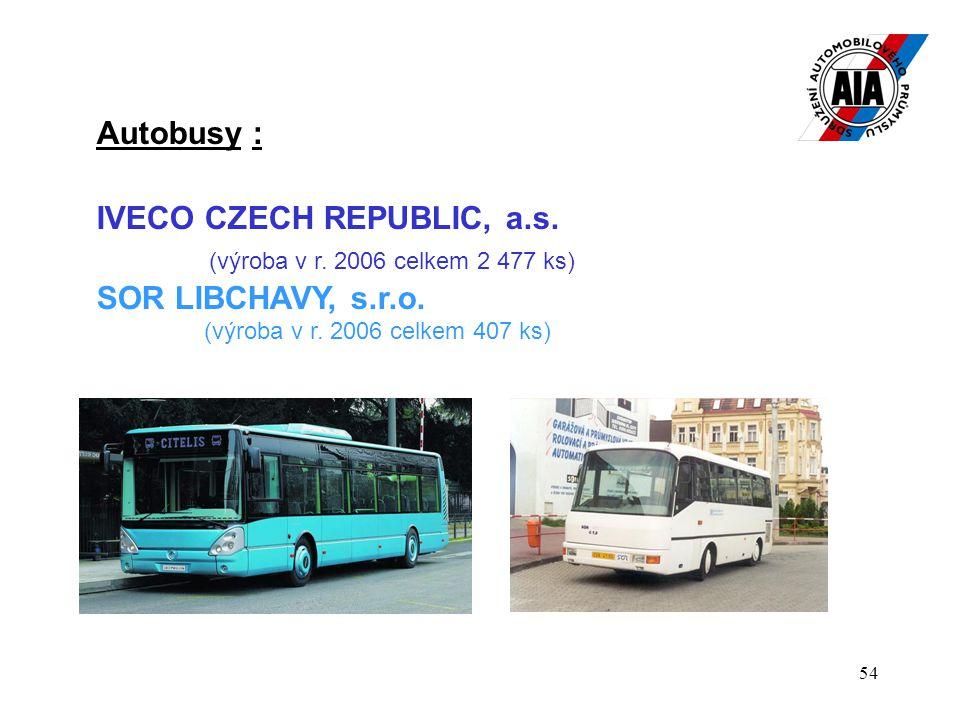 54 Autobusy : IVECO CZECH REPUBLIC, a.s. (výroba v r. 2006 celkem 2 477 ks) SOR LIBCHAVY, s.r.o. (výroba v r. 2006 celkem 407 ks)