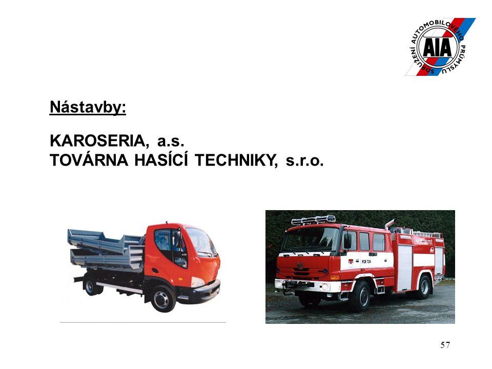 57 Nástavby: KAROSERIA, a.s. TOVÁRNA HASÍCÍ TECHNIKY, s.r.o.