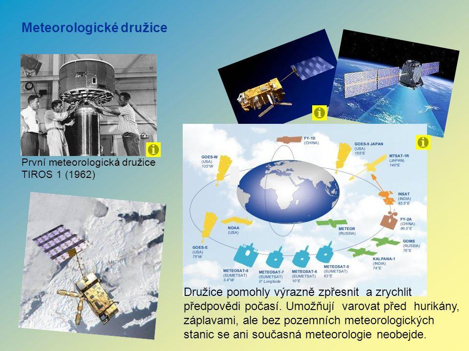 První meteorologická družice TIROS 1 (1962) Meteorologické družice Družice pomohly výrazně zpřesnit a zrychlit předpovědi počasí. Umožňují varovat pře