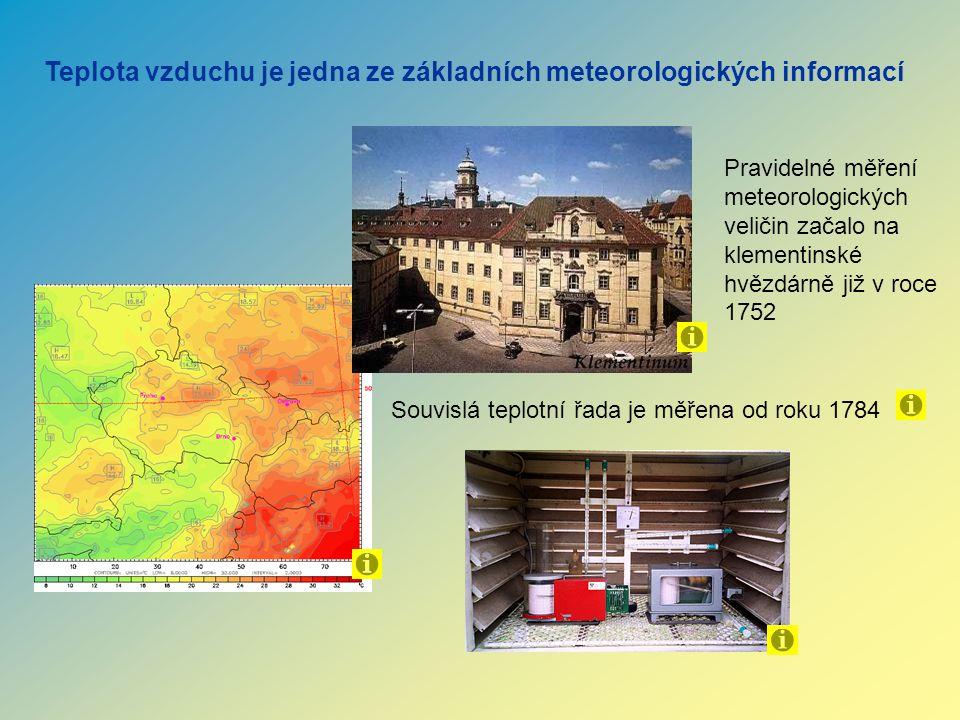 Teplota vzduchu je jedna ze základních meteorologických informací Pravidelné měření meteorologických veličin začalo na klementinské hvězdárně již v ro