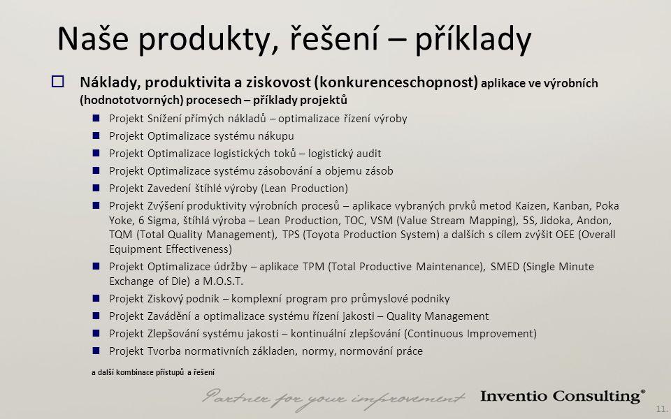 11. Naše produkty, řešení – příklady  Náklady, produktivita a ziskovost (konkurenceschopnost) aplikace ve výrobních (hodnototvorných) procesech – pří