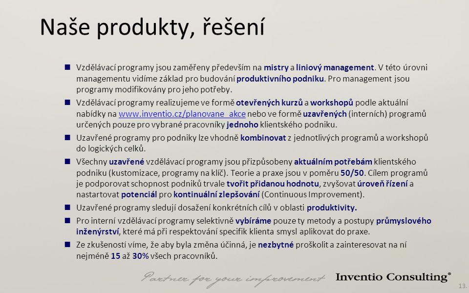 13. Naše produkty, řešení Vzdělávací programy jsou zaměřeny především na mistry a liniový management. V této úrovni managementu vidíme základ pro budo