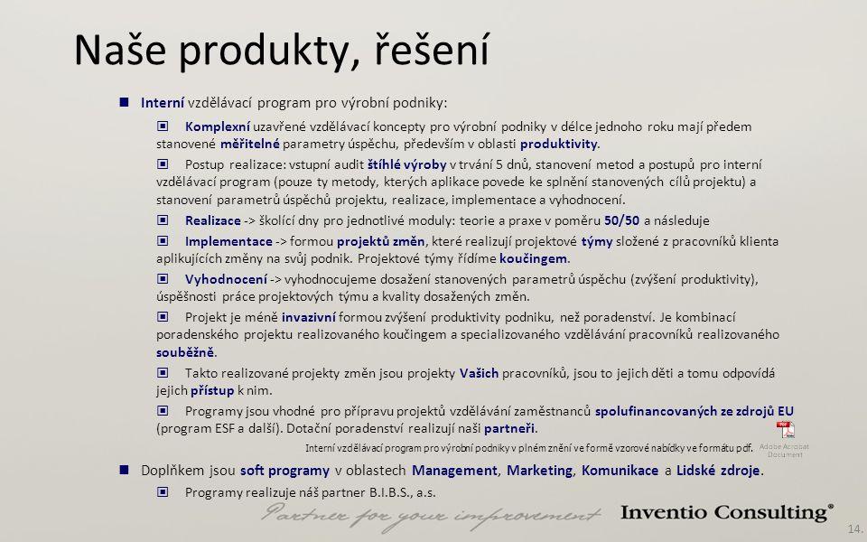 14. Naše produkty, řešení Interní vzdělávací program pro výrobní podniky v plném znění ve formě vzorové nabídky ve formátu pdf. Interní vzdělávací pro