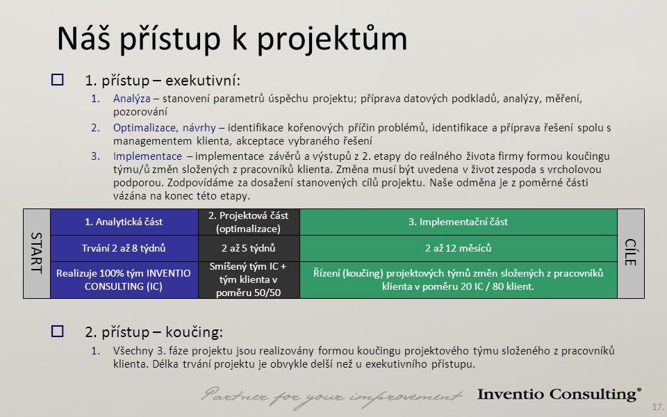 17. Náš přístup k projektům  1. přístup – exekutivní: 1.Analýza – stanovení parametrů úspěchu projektu; příprava datových podkladů, analýzy, měření,
