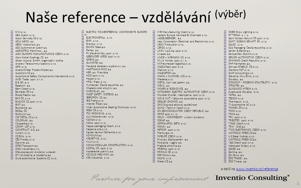 3. Naše reference – vzdělávání (výběr)  5 M s.r.o.  ABA Czech, s.r.o.  Accor Services CZ s.r.o.  ADW AGRO, a.s.  AERO Vodochody a.s.  AGC Automo