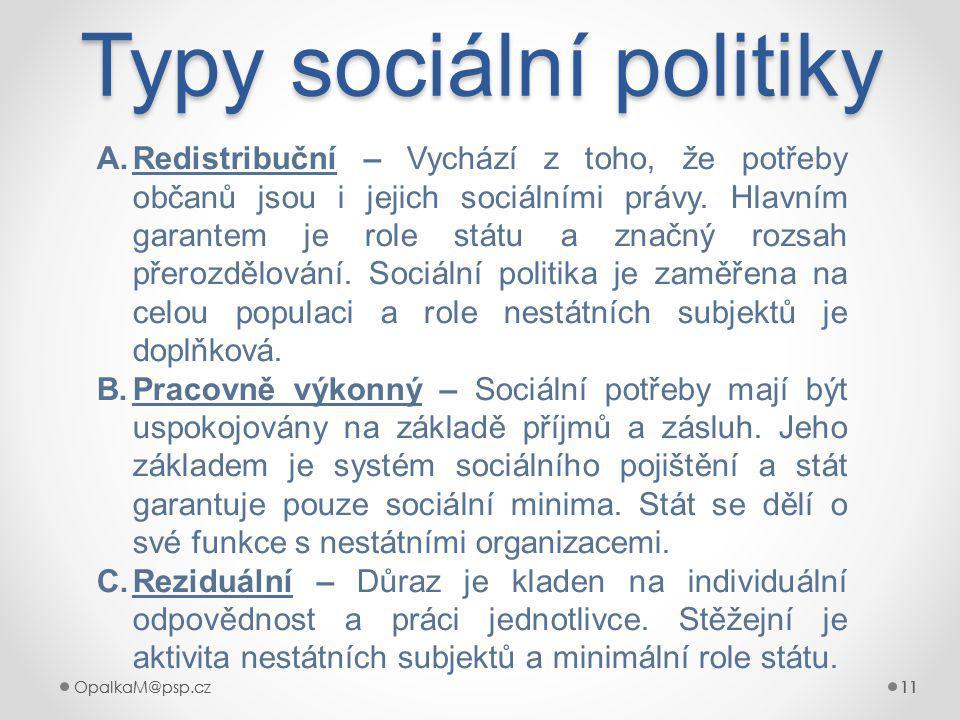 OpalkaM@psp.cz 11 OpalkaM@psp.cz11 Typy sociální politiky 11 A.Redistribuční – Vychází z toho, že potřeby občanů jsou i jejich sociálními právy.