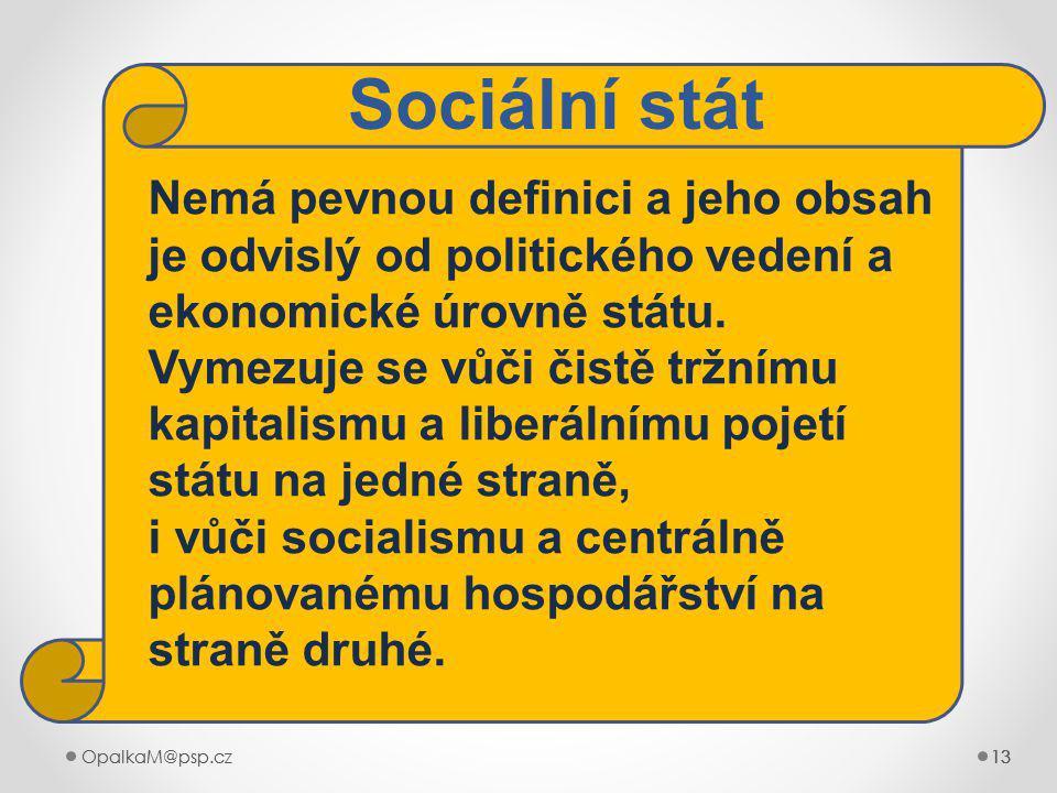 OpalkaM@psp.cz 13 OpalkaM@psp.cz13 Nemá pevnou definici a jeho obsah je odvislý od politického vedení a ekonomické úrovně státu.