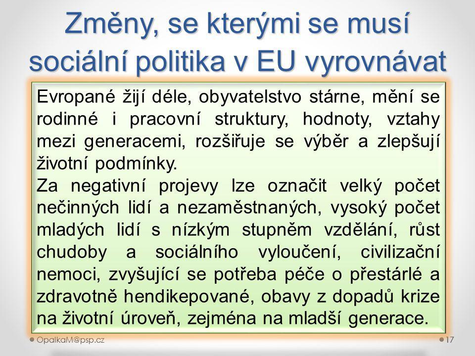 OpalkaM@psp.cz 17 OpalkaM@psp.cz17 Změny, se kterými se musí sociální politika v EU vyrovnávat 17 Evropané žijí déle, obyvatelstvo stárne, mění se rodinné i pracovní struktury, hodnoty, vztahy mezi generacemi, rozšiřuje se výběr a zlepšují životní podmínky.
