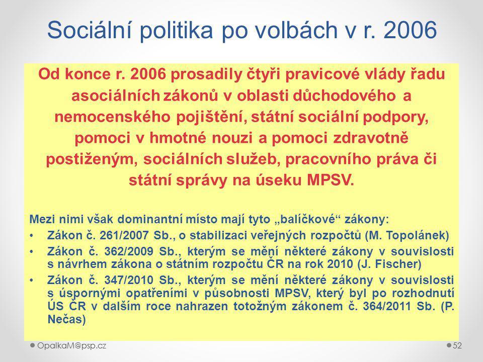 OpalkaM@psp.cz 52 OpalkaM@psp.cz52 Sociální politika po volbách v r.