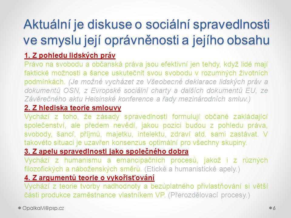 OpalkaM@psp.cz 6 666 Aktuální je diskuse o sociální spravedlnosti ve smyslu její oprávněnosti a jejího obsahu 6 1.