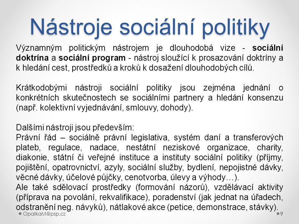 OpalkaM@psp.cz 9 999 Nástroje sociální politiky 9 Významným politickým nástrojem je dlouhodobá vize - sociální doktrína a sociální program - nástroj sloužící k prosazování doktríny a k hledání cest, prostředků a kroků k dosažení dlouhodobých cílů.