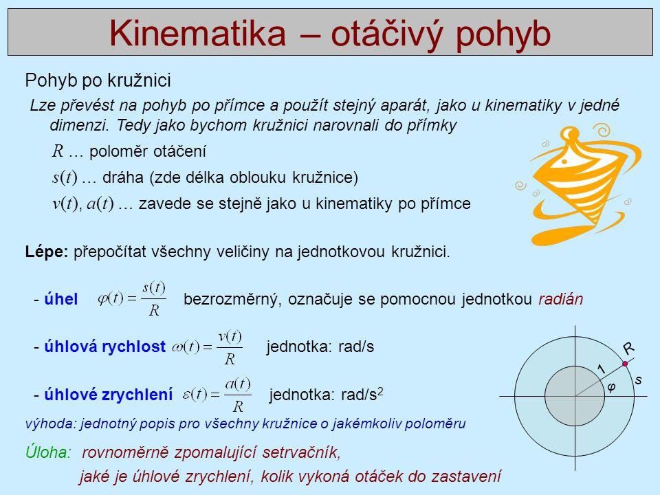 Příklady - kinematika Dva řešené příklady: http://webfyzika.fsv.cvut.cz/PDF/priklady/Mechanika_resene_1.pdf 17 neřešených příkladů: http://webfyzika.fsv.cvut.cz/PDF/priklady/Mechanika_neresene_1.pdf