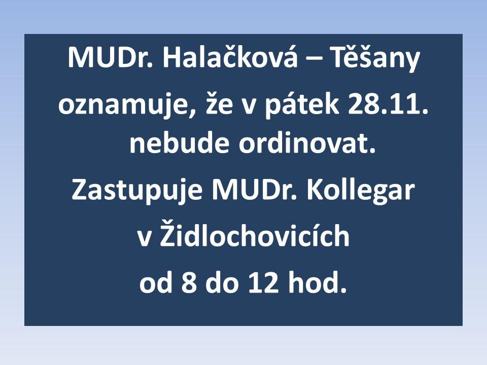 MUDr.Halačková – Těšany oznamuje, že v pátek 28.11.