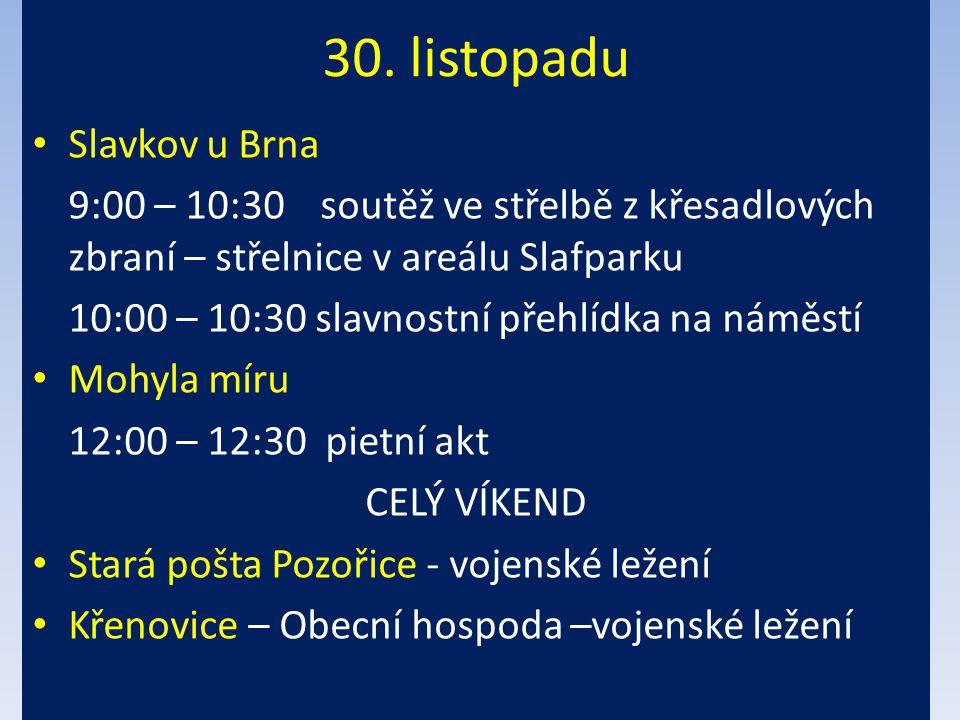 30. listopadu Slavkov u Brna 9:00 – 10:30soutěž ve střelbě z křesadlových zbraní – střelnice v areálu Slafparku 10:00 – 10:30 slavnostní přehlídka na