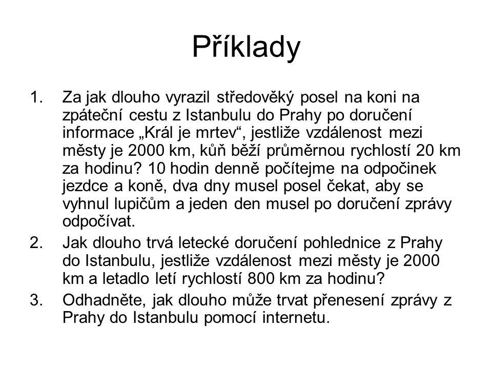 """Příklady 1.Za jak dlouho vyrazil středověký posel na koni na zpáteční cestu z Istanbulu do Prahy po doručení informace """"Král je mrtev , jestliže vzdálenost mezi městy je 2000 km, kůň běží průměrnou rychlostí 20 km za hodinu."""