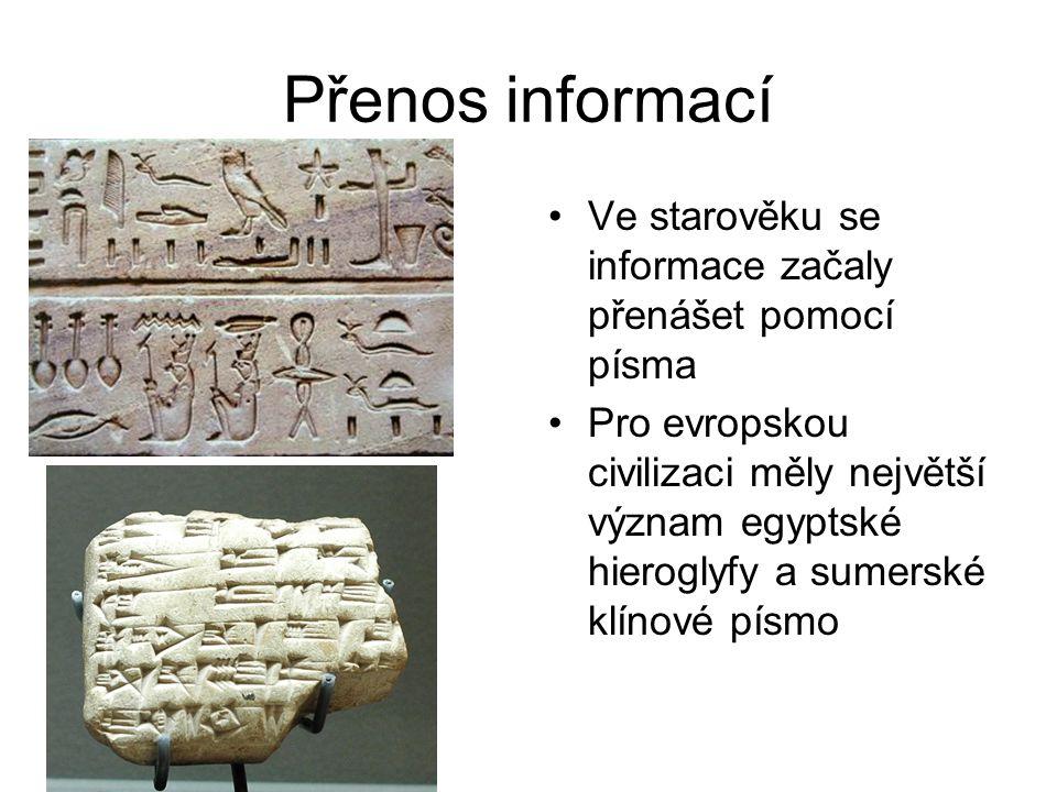 Přenos informací Ve starověku se informace začaly přenášet pomocí písma Pro evropskou civilizaci měly největší význam egyptské hieroglyfy a sumerské k